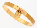 Luxury Accessories:Accessories, Hermes 60mm Jaune Courchevel Leather Kelly Lock Bracelet with GoldHardware. ...