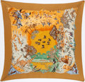 "Luxury Accessories:Accessories, Hermes 90cm Gold & Orange ""Africa,"" by Robert Dallet Plisse Silk Scarf. ..."
