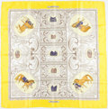 "Luxury Accessories:Accessories, Hermes 90cm Yellow & White ""La Presentation,"" by ChristianeVauzelles Silk Scarf. ..."