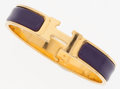Luxury Accessories:Accessories, Hermes Violet Enamel Clic-Clac PM Bracelet with Gold Hardware. ...