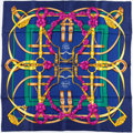 "Luxury Accessories:Accessories, Hermes 90cm Blue & Gold ""Grand Manege,"" by Henri d'Origny SilkScarf. ..."
