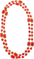 Luxury Accessories:Accessories, Chanel Red Crystal & Gold Sautoir Necklace. ...