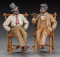 Miscellaneous, PAIR OF AUSTRIAN POTTERY FIGURES SEATED ON BAMBOO CHAIRS, circa1890. Impressed marks to man with top hat: JM (star with...(Total: 4 Items)