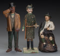 Miscellaneous, THREE VARIOUS CONTINENTAL GENTLEMEN FIGURES INCLUDING A CANDYCONTAINER, circa 1900. Marks to seated man: Czechoslovakia, ...(Total: 3 Items)