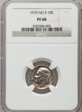 Proof Roosevelt Dimes: , 1970 10C No S PR68 NGC. NGC Census: (48/16). PCGS Population(71/8). Mintage: 2,200. Numismedia Wsl. Price for problem free...
