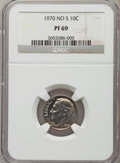 Proof Roosevelt Dimes: , 1970 10C No S PR69 NGC. NGC Census: (16/0). PCGS Population (8/0). Mintage: 2,200. Numismedia Wsl. Price for problem free N...