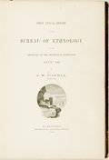 Books:Americana & American History, [American Ethnology]. J. W. Powell. First Annual Report of theBureau of Ethnology to the Secretary of the Smithsonian I...
