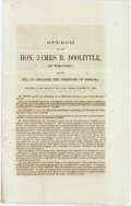 Books:Americana & American History, [James Doolittle]. Speech of the Hon. James R. Doolittle, ofWisconsin, on the Bill to Organize the Territory of Arizuma...