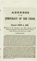 Books:Americana & American History, [John Adams Dix]. Address to the Democracy of the Union byGeneral John A. Dix, Delivered at the Convention and MassMee...