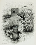 Books:Original Art, Garth Williams. SIGNED. Original Preliminary Pen and Ink Sketch for Tucker's Countryside. Signed by the artist at ...