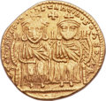 Ancients:Byzantine, Ancients: Leo IV the Khazar (AD 775-780), with Constantine VI, LeoIII, and Constantine V. AV solidus (22mm, 4.46 gm, 6h)....