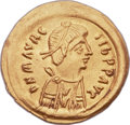 Ancients:Byzantine, Ancients: Maurice Tiberius (AD 582-602). AV tremissis (16mm, 1.51gm, 6h)....