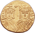 Ancients:Byzantine, Ancients: Constantine VI and Irene (AD 780-797), with Leo III,Constantine V, and Leo IV. AV solidus (19mm, 4.46 gm, 6h)....