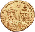 Ancients:Byzantine, Ancients: Leo IV the Khazar (AD 775-780), with Constantine VI, LeoIII, and Constantine V. AV solidus (20mm, 4.44 gm, 6h)....