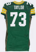 Football Collectibles:Uniforms, 1995 Aaron Taylor Game Worn Green Bay Packers Jersey - With Team Repairs!...