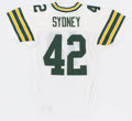 Football Collectibles:Uniforms, 1992 Harry Sydney Game Worn Green Bay Packers Jersey....