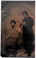 Photography:Tintypes, Rare CDV Size Tintype of a Union Soldier Amputee and Surgeon....