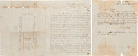 Confederate 26th Texas Cavalry: 1st Sergeant William C. Smith Two Autograph Letters Signed with a Sketch of the Executio...