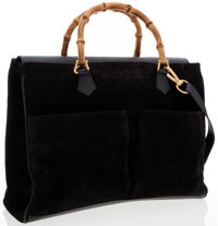 Gucci Black Suede Tote Bag with Bamboo Hardware