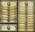 Small Size:Gold Certificates, Small Size $10 and $20 1928 Gold Certificates Nineteen Examples Good or Better.. ... (Total: 19 notes)