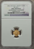 California Fractional Gold , 1853 50C Liberty Round 50 Cents, BG-421, R.4, -- Improperly Cleaned-- NGC Details. Unc. NGC Census: (0/23). PCGS Populatio...