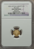 California Fractional Gold: , 1855 $1 Liberty Octagonal 1 Dollar, BG-533, Low R.4, -- Holed --NGC Details. Unc. NGC Census: (0/9). PCGS Population (2/30...