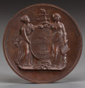 Bronze:American, AN AMERICAN PATINATED BRONZE GALLANTRY MEDAL, circa 1854. 3 inchesdiameter (7.6 cm). FROM THE ESTATE OF RICHARD WRIGHT. ...