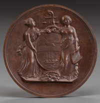 AN AMERICAN PATINATED BRONZE GALLANTRY MEDAL, circa 1854 3 inches diameter (7.6 cm)  FROM THE ESTATE OF RICH