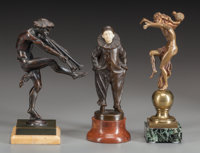 THREE CONTINENTAL ART NOUVEAU AND DECO BRONZES Circa 1900 7 inches (17.8 cm) high (Pierrot) Inscribed on Pie