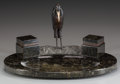 Miscellaneous, CONTINENTAL ART DECO BRONZE AND MARBLE INKSTAND, circa 1920. 9 x16-1/2 x 11 inches (22.9 x 41.9 x 27.9 cm). ...