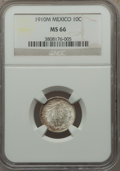 Mexico, Mexico: Republic 10 Centavos 1910-M MS66 NGC,...