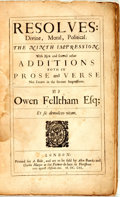 Books:Philosophy, Feltham, Owen. Resolves: Divine, Moral, Political... With New, & Several Other Additions Both in Prose and Verse. London...