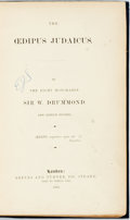 Books:Metaphysical & Occult, Drummond, William. The Oedipus Judaicus. London: Reeves and Turner, 1866. 8vo. [6],2,xlv,[1],266pp. Later cloth, tit...