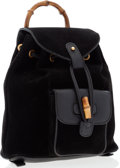 Luxury Accessories:Bags, Gucci Black Suede & Leather Bamboo Backpack. ...