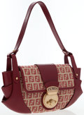 Luxury Accessories:Bags, Fendi Red Monogram Canvas & Leather Shoulder Bag. ...
