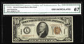 Small Size:World War II Emergency Notes, Fr. 2303 $10 1934A Hawaii Federal Reserve Note. CGA GemUncirculated 67.. A $10 Hawaii of exceptional quality, with itsqual...