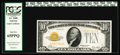 Small Size:Gold Certificates, Fr. 2400 $10 1928 Gold Certificate. PCGS Gem New 65PPQ.. Solid embossing is clearly visible through this holder while the da...