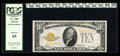 Small Size:Gold Certificates, Fr. 2400 $10 1928 Gold Certificate. PCGS Gem New 65.. This well margined example will fit nicely into any advanced type set....
