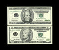 Small Size:Group Lots, Matched Serial Number 10 Green Seals. This lot consists of an Fr. 2034-L and an Fr. 2086-L. The $10 sports a small amount of... (Total: 2 notes)