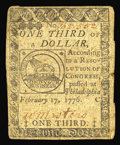 Colonial Notes:Continental Congress Issues, Continental Currency February 17, 1776 $1/3 Very Fine. Nicelysigned and with a single hard centerfold. These fractional Con...