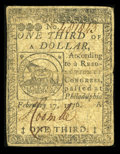 Colonial Notes:Continental Congress Issues, Continental Currency February 17, 1776 $1/3 Fine. This Fugiofractional note has numerous folds, and a weak corner at upper ...