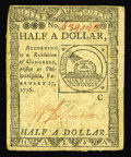 Colonial Notes:Continental Congress Issues, Continental Currency February 17, 1776 $1/2 Choice New. This pieceis kept from the Gem grade by uneven margins....