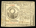 Colonial Notes:Continental Congress Issues, Continental Currency November 2, 1776 $30 Gem New. Beautifully margined all around with strong signatures, bright surfaces a...