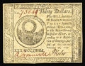 Colonial Notes:Continental Congress Issues, Continental Currency February 26, 1777 $30 Choice About New. Anearly invisible centerfold holds this handsome Baltimore iss...