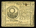 Colonial Notes:Continental Congress Issues, Continental Currency February 26, 1777 $30 Extremely Fine. Lightlycirculated but with three sharp vignettes, two strong sig...