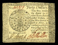 Colonial Notes:Continental Congress Issues, Continental Currency September 26, 1778 $40 Extremely Fine. This$40 note is handsome, well signed, and lightly circulated....
