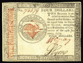 Colonial Notes:Continental Congress Issues, Continental Currency January 14, 1779 $4 Choice About New. Strongsignatures, bright paper and good eye appeal all come toge...