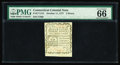 Colonial Notes:Connecticut, Connecticut October 11, 1777 3d PMG Gem Uncirculated 66. Anuncancelled piece printed on blue paper, this issue is seldom se...