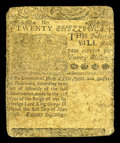 Colonial Notes:Delaware, Delaware May 1, 1758 20s Very Fine. This ornate note retains mostall of its printed details though it has a repaired center...