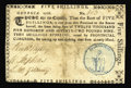 Colonial Notes:Georgia, Georgia 1776 - Blue seal with SPERANDUM 5s Choice Very Fine. Anextremely rare and underrated note, and the only colored sea...